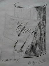 Fine unique Pop Art drawing, soup can, signed Andy Warhol w COA