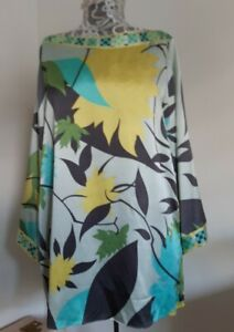 Emilio Pucci Firenze Boatneck Bell Sleeve Silk Top Size 14