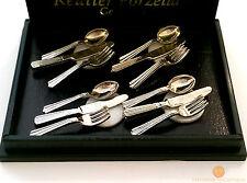 Reutter porcelain 12 pièce argent set de couverts 1:12 maison de poupées miniature 1.917/0