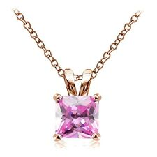 Rose Gold Tone over Silver 3ct Pink Cubic Zirconia 8mm Square Solitaire Necklace
