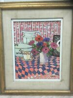 Brenda Webber Morrison American Original Still Life of Flower Modernist  Signed