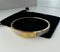 Michael Kors Bangle Chunky Plaque Gold Bangle Bracelet w/ a pouch