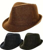 Tweed Hat Trilby fedora Herringbone Wool Mix Country Ladies Mens Boys Women's