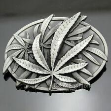 Western Men Cowboy Vintage Silver Marijuana Pot Weed Leaf Combo Belt Buckle