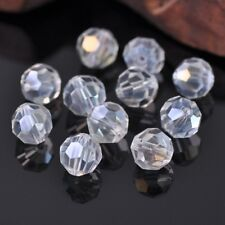 50pcs 10mm 32 Facets Clear AB Round Faceted Cut Crystal Glass Loose Spacer Beads