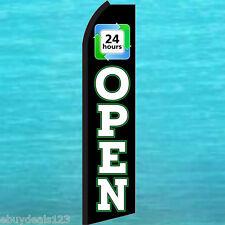 Open 24 Hours Swooper Flag Tall Flutter Feather Vertical Advertising Sign Banner