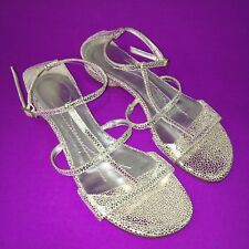 KATE SPADE Silver Metallic Textured Leather Strappy Sandals Flats Size 5 NWOB