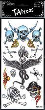 9 tatouages de pirate têtes de mort, sabres, ailes, serpent [208809ailess]