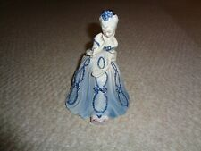 Antique Goldscheider lady figurine flowing dress blue base sitting holding mirro
