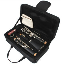 Black Concert B Flat Clarinet with 10 Reeds and Storage Bag for Student Beginner