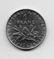 World Coins - France 1 Franc 1965 Coin KM# 925.1 ; Lot-F5