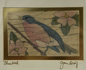 ORIGINAL BATIK PAINTING FLORAL WAX & DYE ON FABRIC JOAN GRAY BLUEBIRD SIGNED