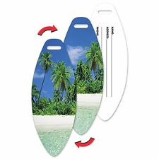 Lenticular Flip Luggage Bag Travel Tag Surf Board Shape Island LTSB-370