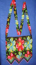 "Beaded Purse Woodland Floral Style 6x8"" + fringe Zips Lined Handmade New RWP1"