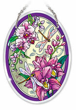 """Orchid Dragonflies Sun Catcher Beveled Glass AMIA 7"""" x5"""" Oval Flowers Purple New"""