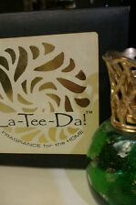 La Tee Da Oil Diffuser Lamp Glass Green with light  gold dots