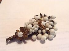 VINTAGE MIRIAM HASKELL SIGNED CLUSTER BEAD DANGLE BROOCH