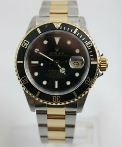 1996 Rolex Submariner Black Dial 16613 Two Tone Stainless Watch w/Box