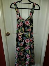 Banned Hibiscus Floral Rockabilly Dress Sz 16 Adjustable Straps 3 Way Wear