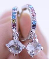 ono de plata Pendientes estilo diamante como anillo de cristal multicolor