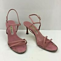 Manolo Blahnik Womens Ankle Strap Sandals Pink Leather Open Toe Shoes 6 EU 36