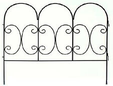 Garden Fence Panel, Decorative Scroll, Black Steel, 30 x 36-In.