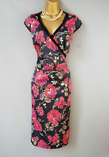 Karen Millen dress wiggle floral Rose print lace UK 8