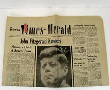 JFK Kennedy Assassination Original Rowan Times-Herald China Grove NC 11-28-63