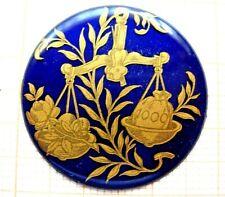 Petit médaillon émail balance émaillé bijoux montre enamel zodiaque p17