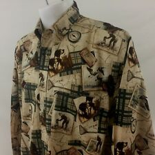 Nautica Men's LS Button Front Casual Shirt Large Beige Bird Hunting 100% Cotton