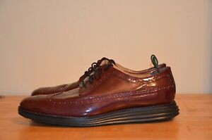 $150 Cole Haan Grand OS Burgundy Wingtip Shoes Oxford Patent Leather Men's 11 M