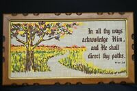 Vintage 1970s Tapastry PROV 3:6 Wood Framed Wall Hanging-Autumn Colors-USA
