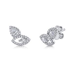 Unique Diamond Earrings 14K White Gold Stud Marquise Pear Cut Natural Eye Shape