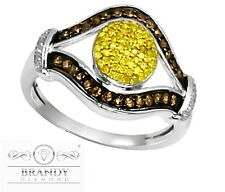 Brandy® & Canary Yellow Diamond Chocolate 10K White Gold Brown Amazing Ring .55C