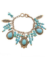 NEW Western Cowgirl Engraved COPPER Concho Turquoise Beads Toggle Charm Bracelet