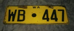 OLD 1970 YELLOW CAR REGISTRATION NUMBER LICENCE WB WONGAN HILLS BALLIDU WA PLATE