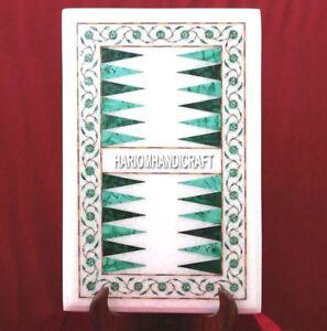 White Marble Malachite Backgammon Coffee Table Inlaid Mosaic Hallway Decor H3690