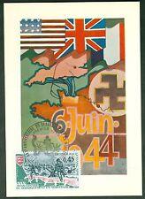 CARTES 1ER JOUR MAXIMUM  ANNIVERSAIRE DEBARQUEMEBNT NORMANDIE  08/O6/1974  N°52