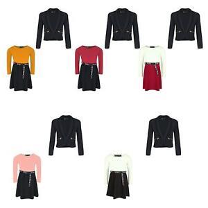 Girls Tik Tok Belt Skater Dress Jacket Blazer With Zip Pockets Set Bundle 3-14
