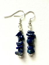 Lapis Lazuli Natural Chip Gemstone Earrings Drop Crystal Chakra Healing