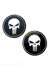 2x Universal Motorcycle 2'' Skull Punisher Gas Tank Emblem Badge Decal All Years