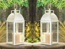 """2 Sleek Contemporary Candle Lanterns Distressed Ivory w/ Clear Glass 13"""" High"""