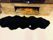 Double Super Thick Soft and Luxurious Genuine Black Natural Sheepskin Rug