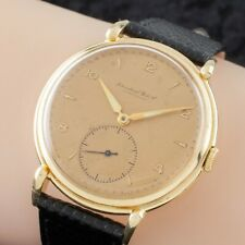 18k Yellow Gold IWC Hand-Winding Watch Cal. 88 1940s w/ Leather Band