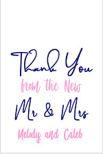 """16 Thank You from the New Mr & Mrs Wedding Favor Tags 2 """" X 2.5"""" Hotel Bags Gift"""