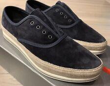 $550 Prada Blue Suede Slip On Sneakers Size US 10.5