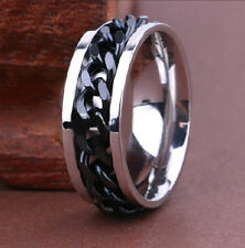 10pcs Top Quality Comfort-fit Spinner Black Chain Men's Stainless Steel Rings