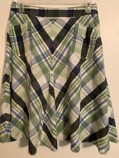 Grace Elements Skirt Size 10 Cotton Lined Green Plaid