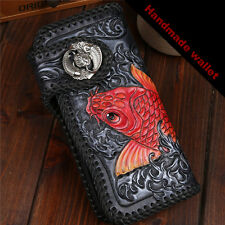 Carving Leather Mens Wallet man Purse Koi Fish Vintage Handmade