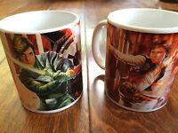 2 star wars coffee mugs, Hans Solo, Boba Fett, Luke Skywalker, Darth Vader